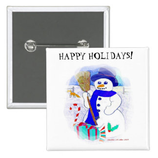Meadow Snowman 2 Inch Square Button