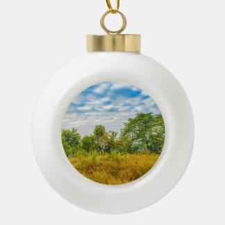 Meadow Tropical Landscape Scene, Guayaquil Ceramic Ball Christmas Ornament