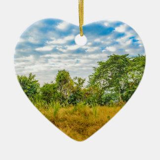 Meadow Tropical Landscape Scene, Guayaquil Ceramic Heart Ornament