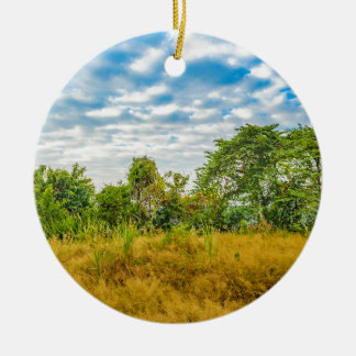 Meadow Tropical Landscape Scene, Guayaquil Ceramic Ornament
