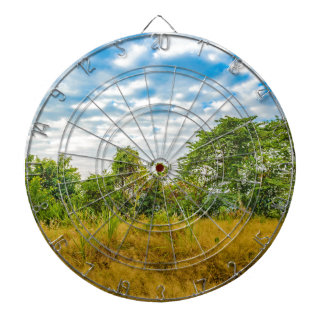 Meadow Tropical Landscape Scene, Guayaquil Dartboard With Darts