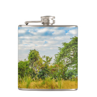 Meadow Tropical Landscape Scene, Guayaquil Hip Flask