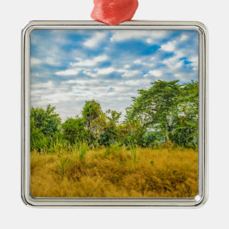 Meadow Tropical Landscape Scene, Guayaquil Metal Ornament
