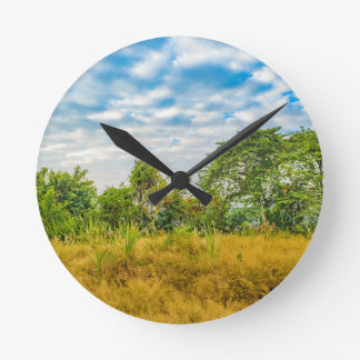 Meadow Tropical Landscape Scene, Guayaquil Round Clock