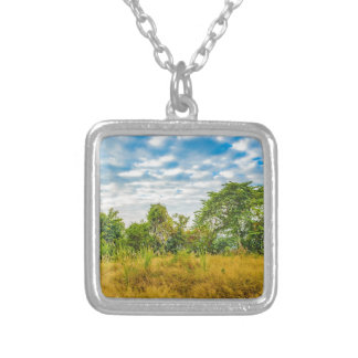 Meadow Tropical Landscape Scene, Guayaquil Silver Plated Necklace