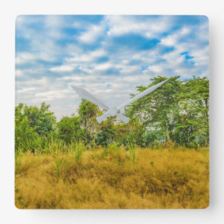 Meadow Tropical Landscape Scene, Guayaquil Square Wall Clock