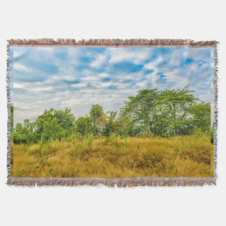 Meadow Tropical Landscape Scene, Guayaquil Throw Blanket