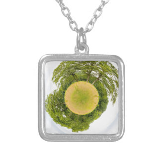 Meadow with trees like little planet silver plated necklace