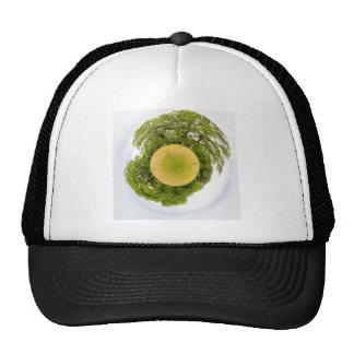 Meadow with trees like little planet trucker hat