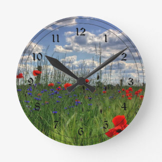 Meadow with Wildflowers Round Clock