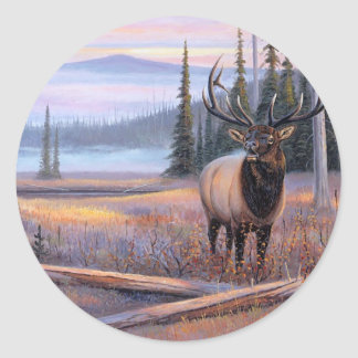 Meadowsong Elk Round Sticker