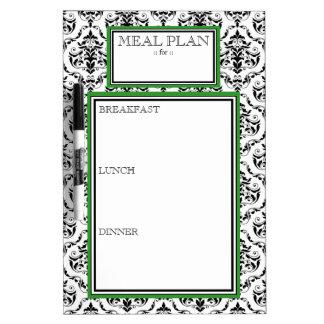 Meal Plan - Green Damask Dry-Erase Board