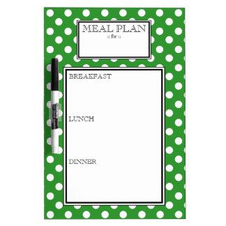 Meal Plan - Green Polka Dot Dry-Erase Board