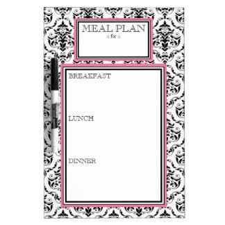 Meal Plan - Pink Damask Dry-Erase Board