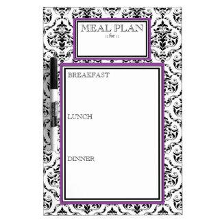 Meal Plan - Purple Damask Dry-Erase Board