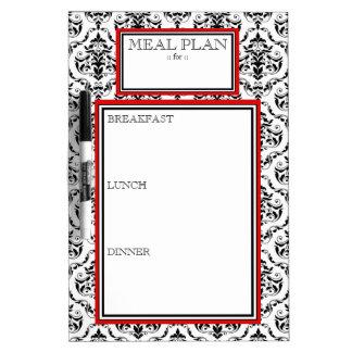 Meal Plan - Red Damask Dry-Erase Board