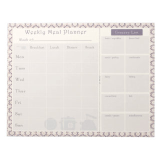 Meal Planner Purple Geo Notepad