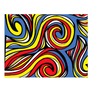 Meals Abstract Expression Yellow Red Blue Postcard
