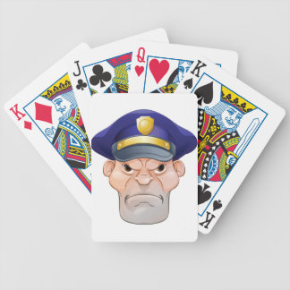 Mean Angry Cartoon Policeman Bicycle Playing Cards