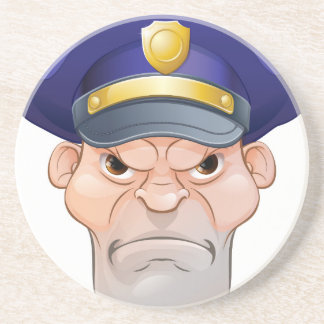 Mean Angry Cartoon Policeman Coaster