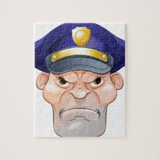 Mean Angry Cartoon Policeman Jigsaw Puzzle