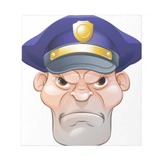 Mean Angry Cartoon Policeman Notepad