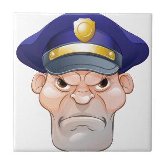 Mean Angry Cartoon Policeman Tile