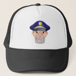 Mean Angry Cartoon Policeman Trucker Hat