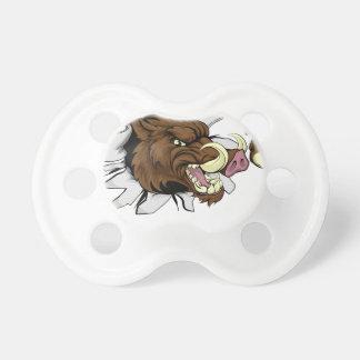 Mean Boar Warthog Razorback Mascot Baby Pacifier
