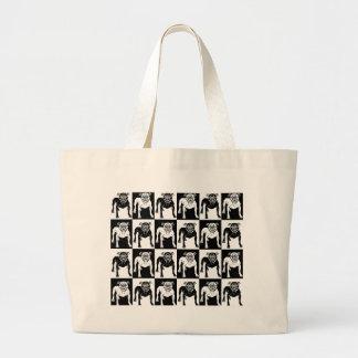 Mean Dog Pattern bulldog pit bull Large Tote Bag