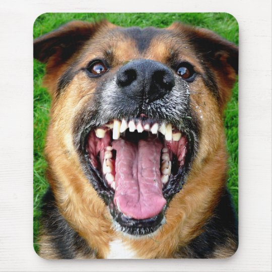 Mean Dog with Big Teeth Mouse Pad | Zazzle.ca