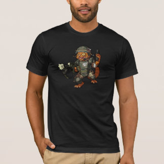 Mean Sci-fi Marine Ginger Cat Firing Gun Cartoon T-Shirt