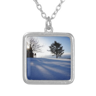 Meanwhile in Canada, midwinter morning Silver Plated Necklace
