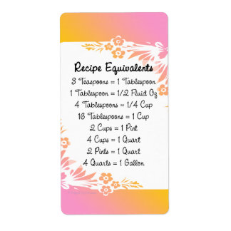 Measurement Equivalents Kitchen Helper Floral Personalized Shipping Label
