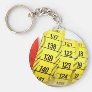 Measuring tape basic round button keychain