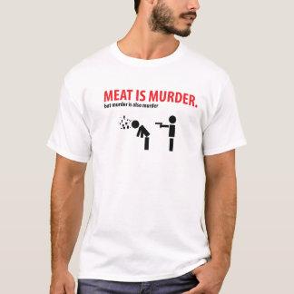 """Meat is murder.  but murder is also murder """"Psych"""" T-Shirt"""