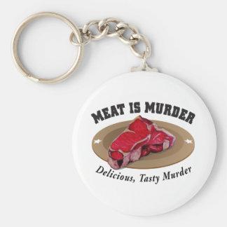 Meat Is Murder - Delicious, Tasty Murder Basic Round Button Keychain