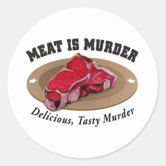 Meat Is Murder - Delicious, Tasty Murder Round Sticker