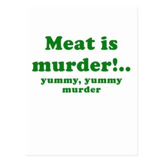 Meat is Murder Yummy Yummy Murder Postcard
