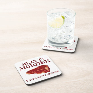 Meat is Tasty Murder Beverage Coaster