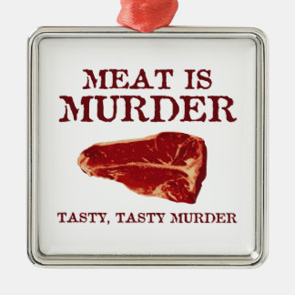 Meat is Tasty Murder Christmas Ornaments
