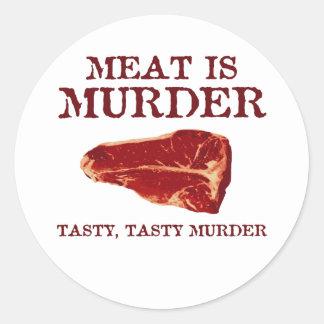 Meat is Tasty Murder Round Stickers
