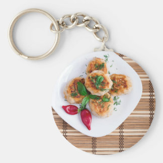 Meatballs of minced chicken with red pepper basic round button keychain