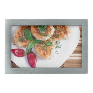 Meatballs of minced chicken with red pepper rectangular belt buckle