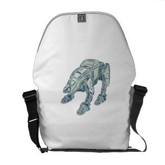 Mecha Bot High Angle Etching Messenger Bags
