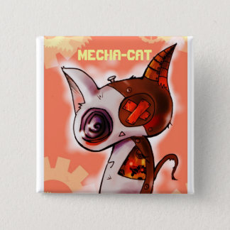 Mecha-Cat Pink 2 Inch Square Button