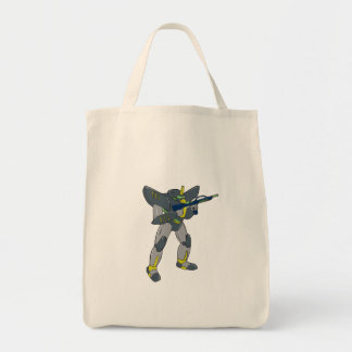 Mecha Robot Holding Ray Gun Isolated Grocery Tote Bag