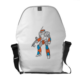 Mecha Robot Holding Ray Gun Isolated Commuter Bags