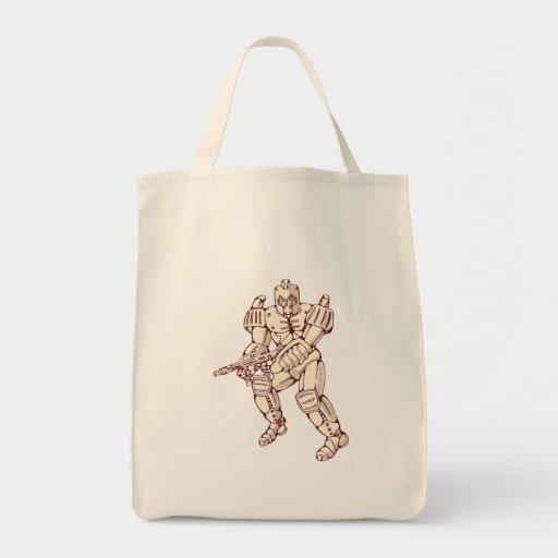 Mecha Robot Warrior With Ray Gun Canvas Bags