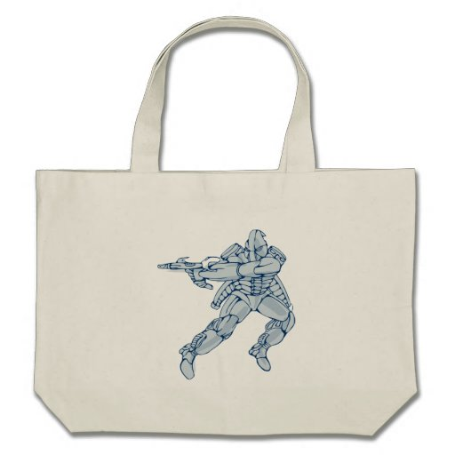 Mecha Robot Warrior With Ray Gun Bag